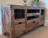Rustic Grey Low Board Solid Wood TV Stand Vintage Retro Cabinet Storage Media Unit Industrial Style Furniture Console Table Drawers Shelf