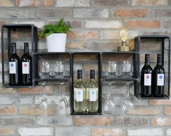 Industrial Wine Rack Vintage Retro Furniture Rustic Metal Storage Shelf Cabinet Wall Mounted Display Unit Bottle Glass Holder Shabby Chic