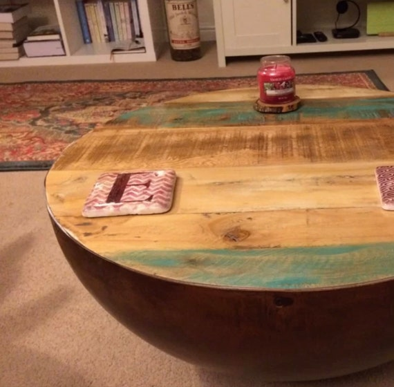 Sensational Barrel Coffee Table Vintage Industrial Furniture Small Retro Style Unit Handmade Rustic Solid Wood Large Antique Farmhouse Side Metal Stand Evergreenethics Interior Chair Design Evergreenethicsorg