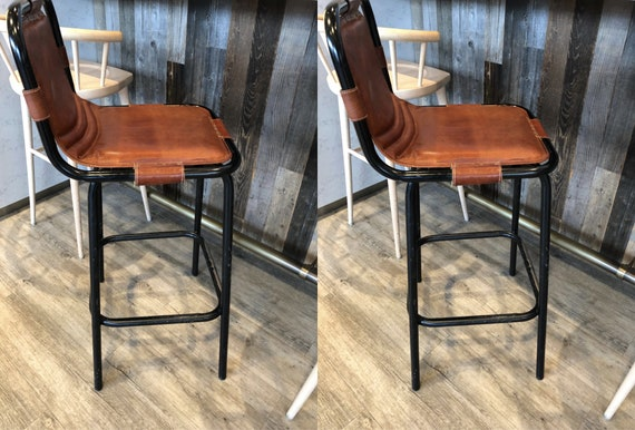 Outstanding Metal Bar Stool Vintage Industrial Chair Retro Genuine Goat Leather Seat High Breakfast Pub Set Of 2 Kitchen Counter Height Stools Machost Co Dining Chair Design Ideas Machostcouk