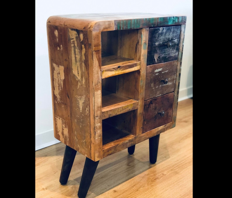 Rustic Side Cabinet Vintage Industrial Furniture Small Wooden Storage Unit Solid Chest Drawer Metal Display Sideboard Retro Console Table