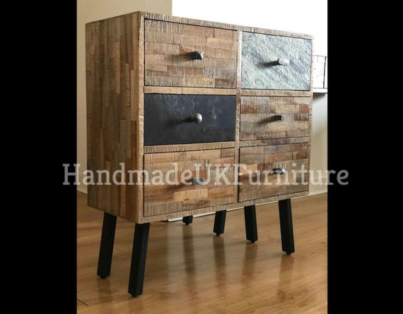 Vintage Industrial Cabinet Rustic Solid Teak Wood Large 6 Chest Of Drawers Small Sideboard Metal Side Console Table Retro Style Storage Unit