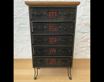 Industrial Side Cabinet Small Metal Sideboard Storage Chest 5 Drawers Unit Rustic Vintage Retro Bedside Table Antique Bedroom Furniture