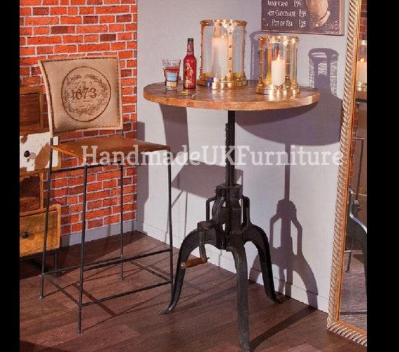 Industrial Bar Table Vintage Kitchen Breakfast Furniture Etsy