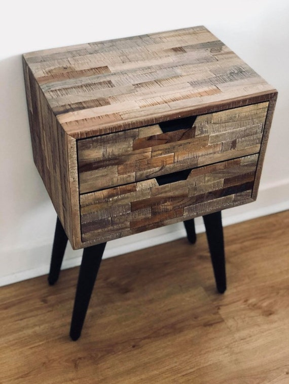 Retro Style Container Bedside Table: Industrial Bedside Table Vintage End Furniture Bedroom