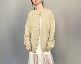 Hand Knitted Wool Cardigan Size S - L | Beige Wool Cardigan_FTV697