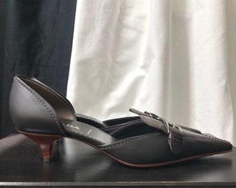 cbd69ad7ea Prada Brown Leather Pointed Kitten Heels size 36,5 EU