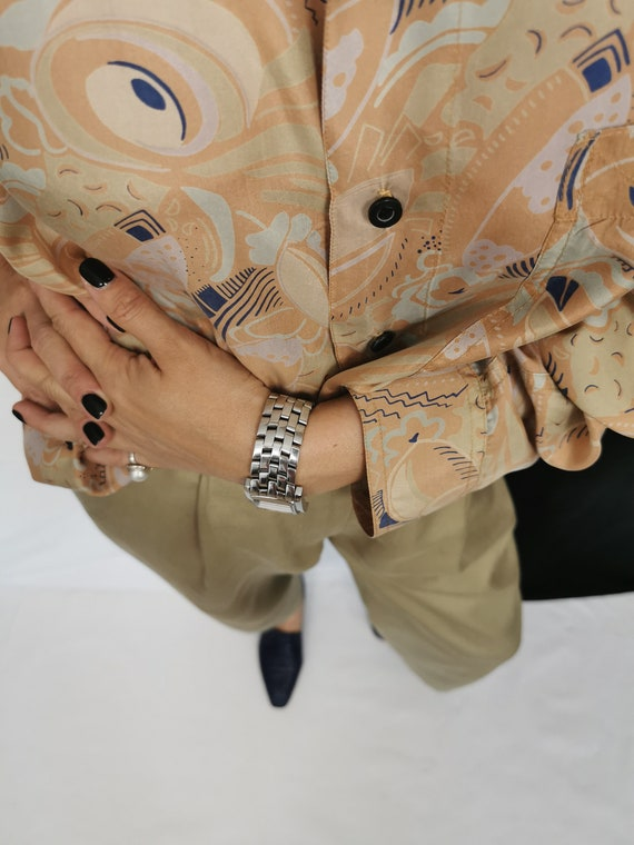 Vintage Silk Blouse L - XL | Oversized Printed Si… - image 8