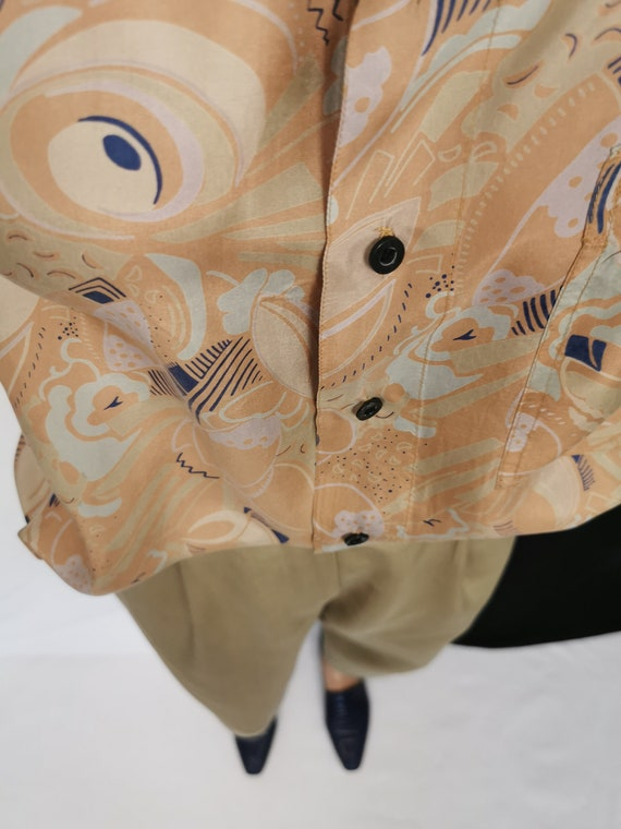Vintage Silk Blouse L - XL | Oversized Printed Si… - image 10