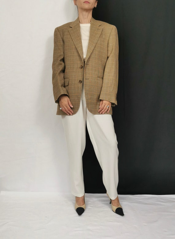 Plaid Silk - Wool Blazer | Beige Plaid Blazer | Vi
