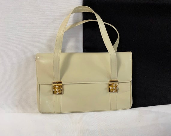 White Leather Handbag for Women | Vintage Small Le