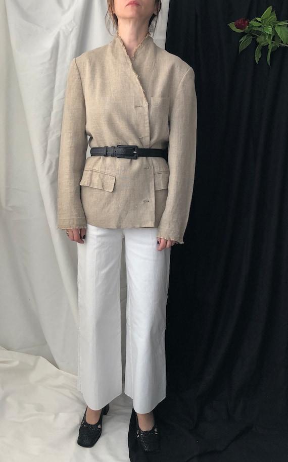 Beige Linen Oversized Blazer for Women - FTV79