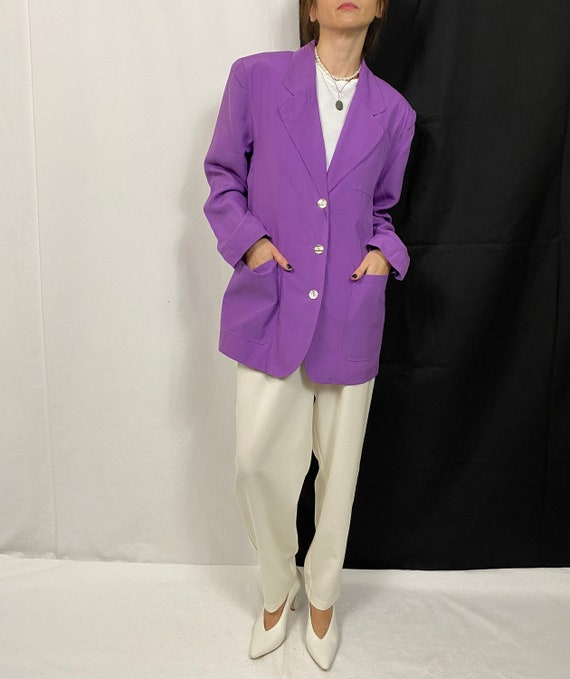 Vintage Silk Blazer for Women Size S - M | Purple