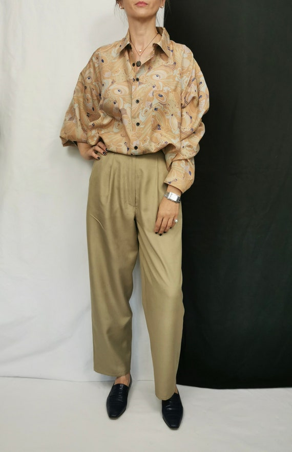 Vintage Silk Blouse L - XL | Oversized Printed Si… - image 2