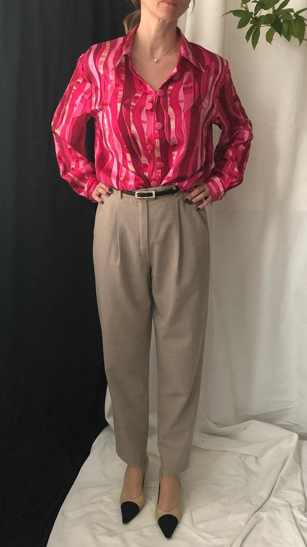Vintage Pink 100/% Silk Blouse Size L