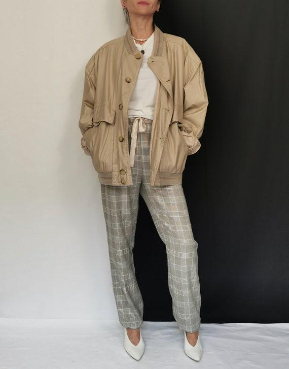 Vintage Beige Bomber Jacket | Unisex Silk Blend Bo