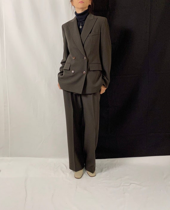 Wool Pants Suit for Women Size S - M | Brown Wool