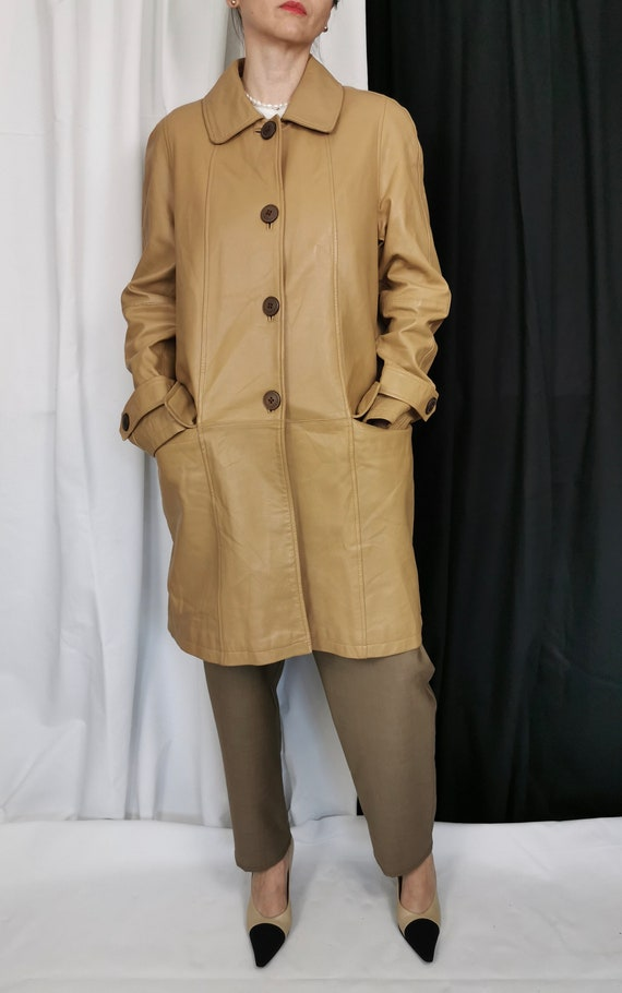 Vintage Leather Trench for Women Size S | Beige Le