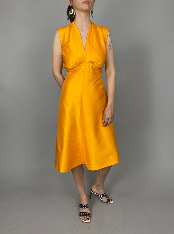 Vintage Silk Dress Size XS - S | Orange Silk Dress