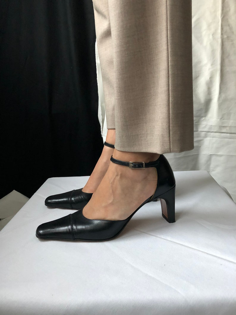 635e294d42a Vintage Valentino Ankle Strap Black Leather Shoes size 36