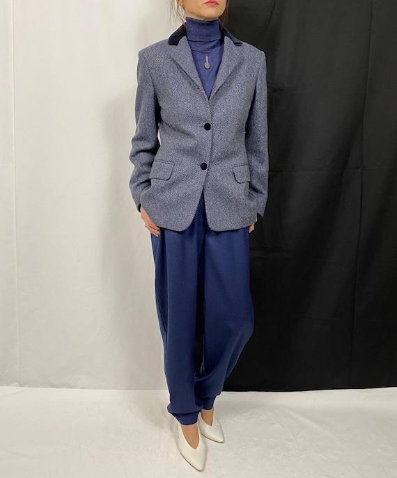 Vintage Wool Blazer for Women Size S | Blue Herrin
