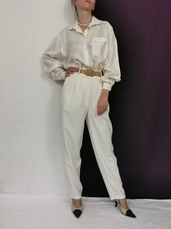 White Silk Blouse for women Size S - M   Vintage S