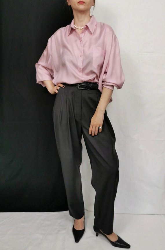 Vintage Silk Blouse for Women Size L - XL | Pale P