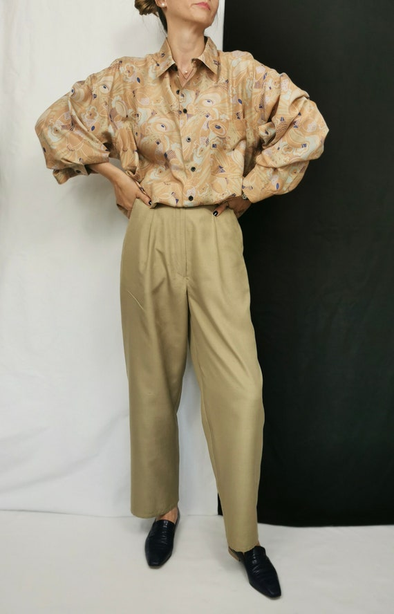 Vintage Silk Blouse L - XL | Oversized Printed Si… - image 3
