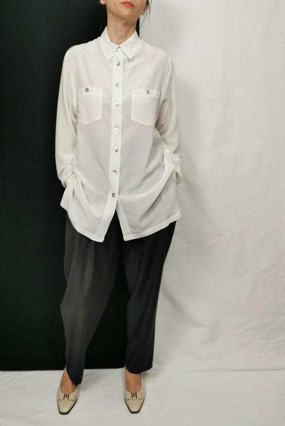 White Silk blouse for Women Size M   Vintage Silk