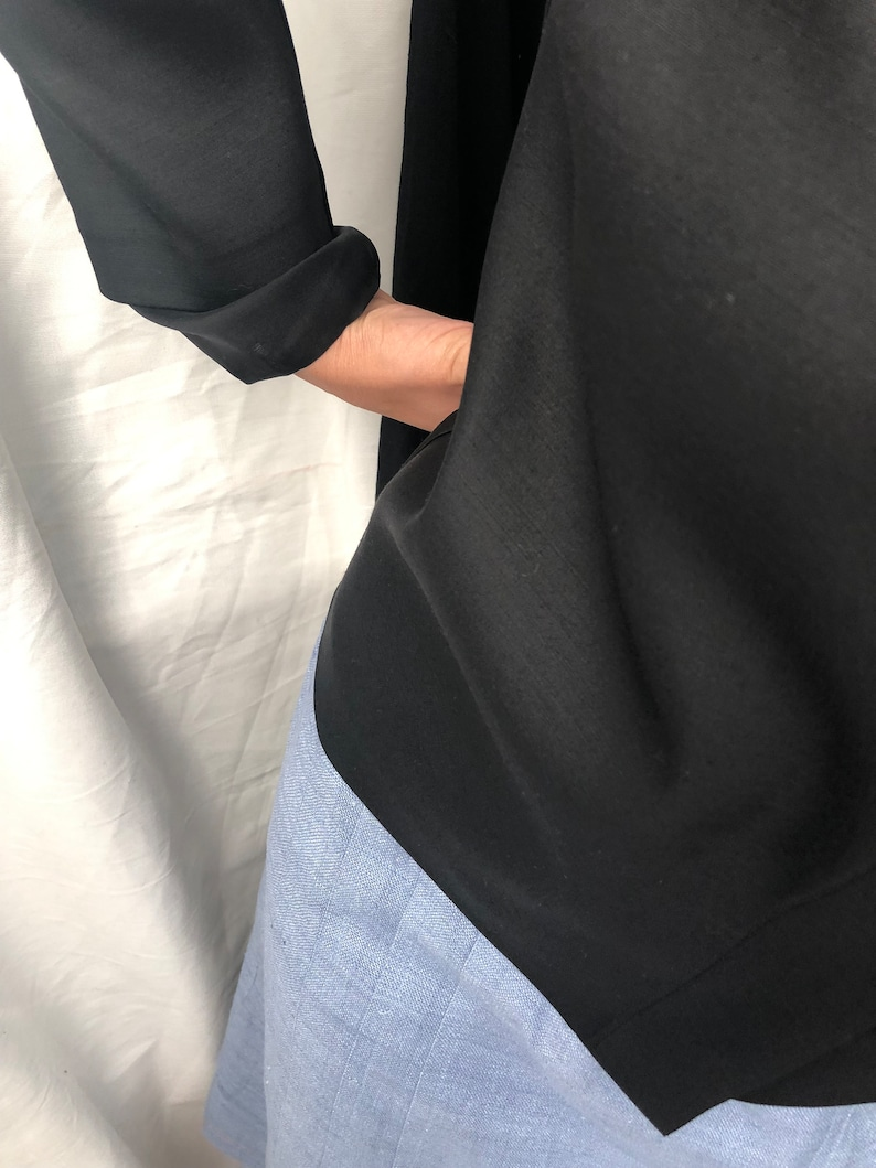 M Silk Blazer L S Handmade Wool Black Wool Silk Blouse for Women Size XS