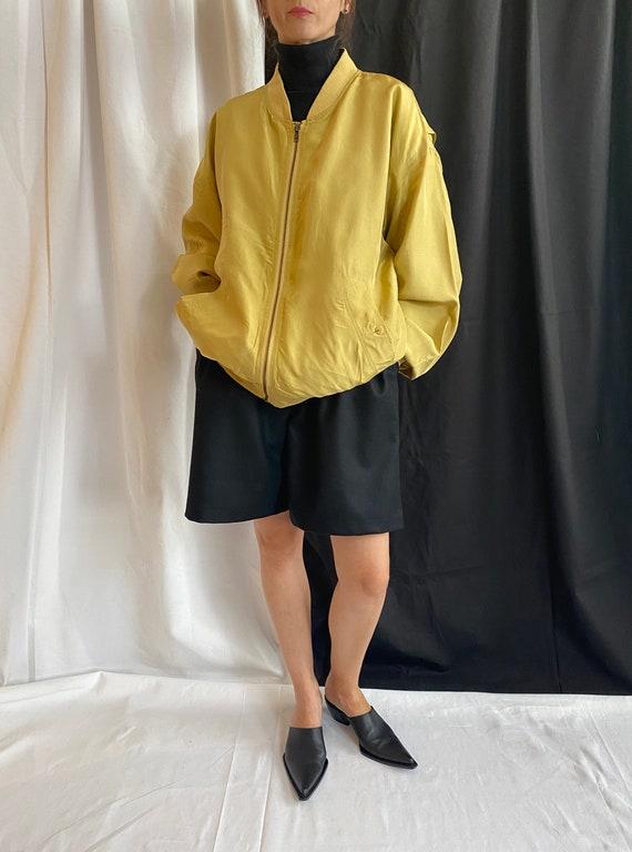 Silk Bomber Jacket Size XL   Vintage Yellow Silk … - image 1