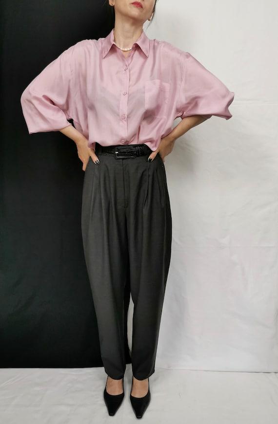 Vintage Silk Blouse for Women Size L - XL   Pale … - image 2