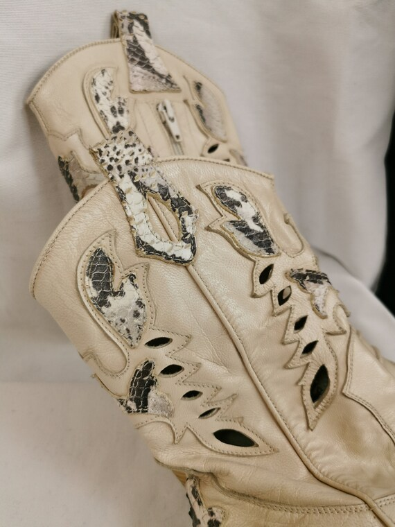Vintage White Cowboy Boots for Women Size 6.5US |… - image 9