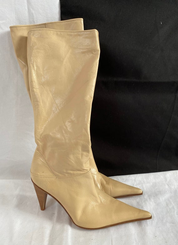 Beige Leather High Boots for Women Size 38IT | Poi