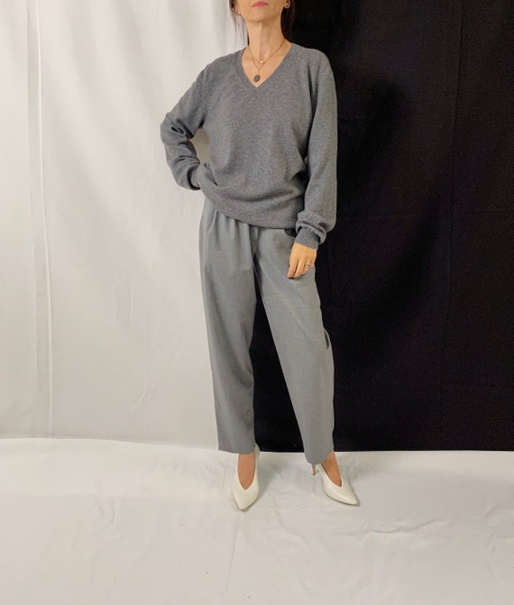 V-Neck Cashmere Sweater for Women Size L | Grey Ca