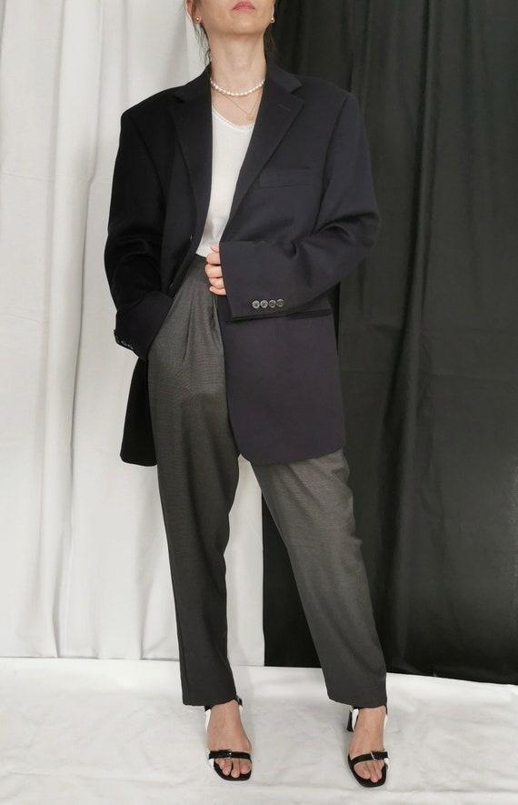 Vintage Cashmere Blazer | Oversized Navy Cashmere