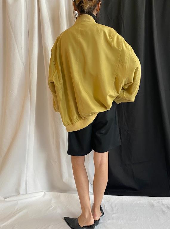 Silk Bomber Jacket Size XL   Vintage Yellow Silk … - image 5