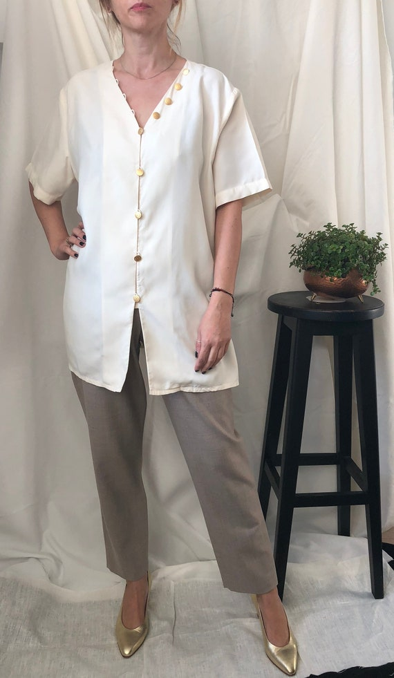 Vintage Silk Blouse for Women Size  L | White Silk