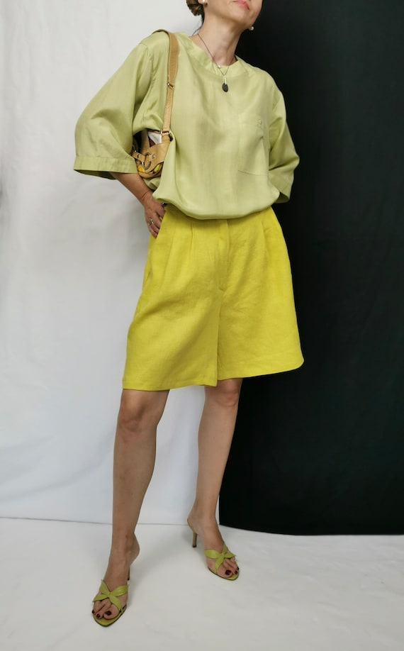 Vintage Silk Blouse Size L | Pistachio Silk Top |