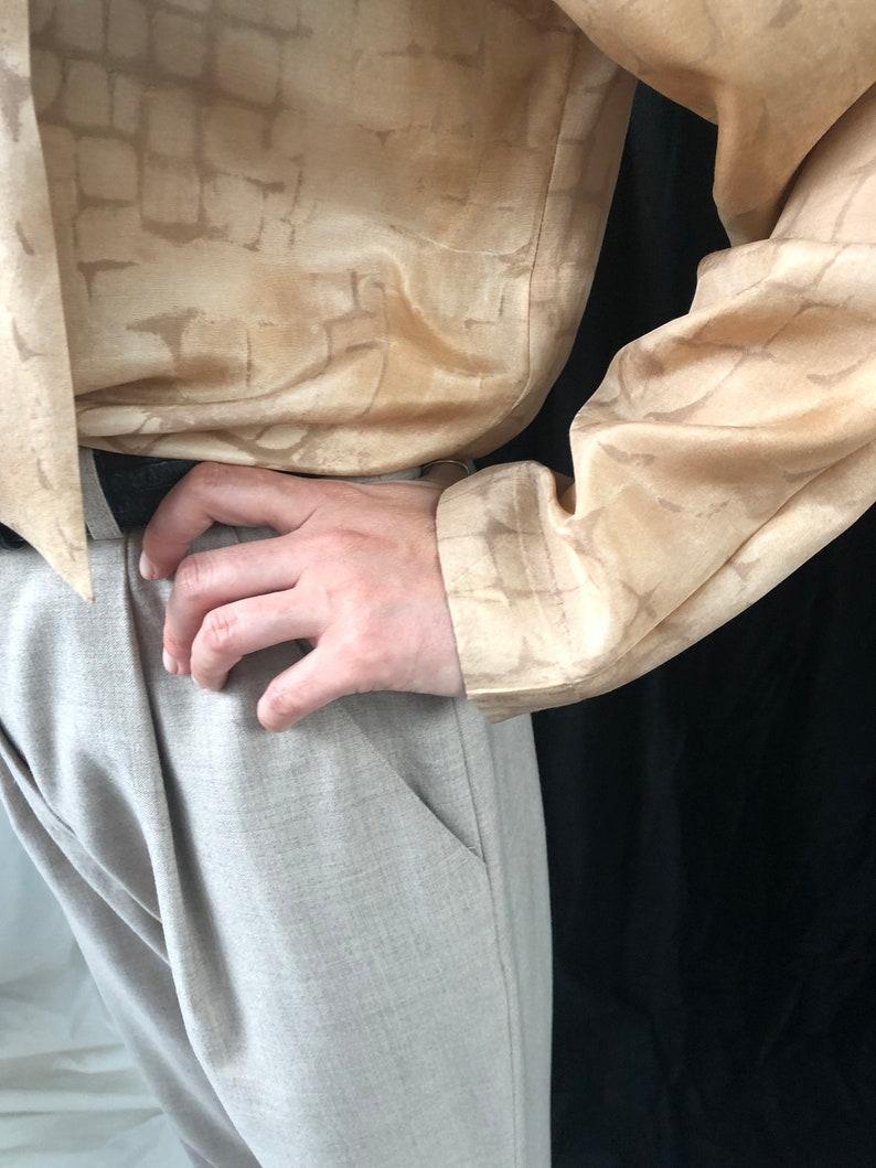 Cream Silk Blouse Silk Blouse with Shawl Collar Vintage Beige Silk Blouse for women Size M