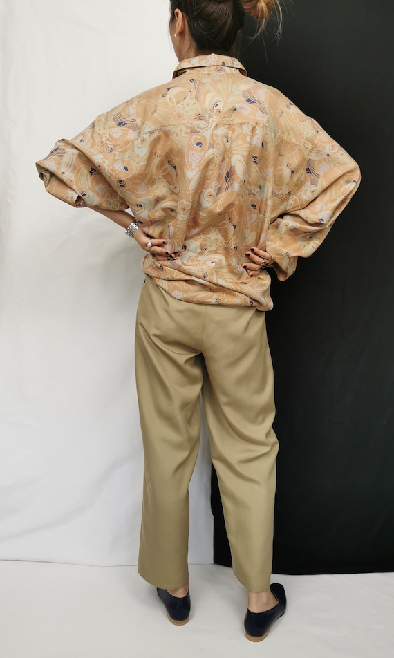 Vintage Silk Blouse L - XL | Oversized Printed Si… - image 6