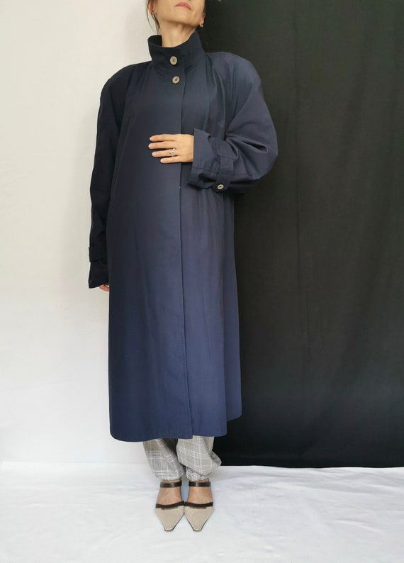 Vintage Trench Coat for Women Size L | Navy Trench