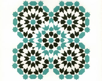 Octaquad (Turquoise Brown) Tile Print