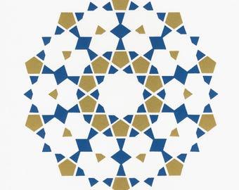 Decagram (Blue Gold) Tile Print