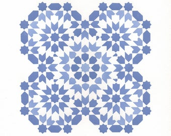 Octaquad (Warm Blue Blend) Tile Print