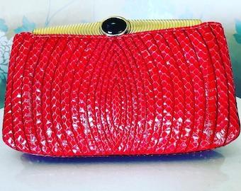 Judith Leiber, Vintage, Red, Clutch-bag with optional Shoulder- strap, Excellent Condition.