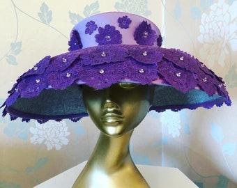 Violet Lace and Silk EDA ROSE Hat , Swarovski Crystals, Special Occasion, Bridal, Wedding.