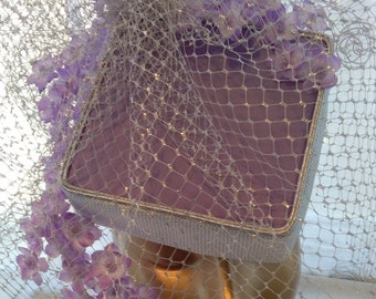 Exclusive, Designer, Lilac, Silver, Ready-to-Wear, Square, Cocktail, Flowers, Ascot, Wedding, Hat.