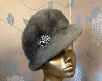 Silver Gray Mink Designer Hat with Swarovski Crystal Trim.
