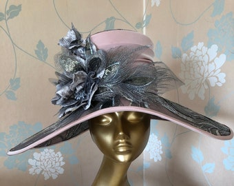 Half Price End of Season Sale!  Dramatic, Wide-brimmed Hat in Silver Embroidered Tulle and Pale Pink Taffeta, Silver Gray Velvet Roses.